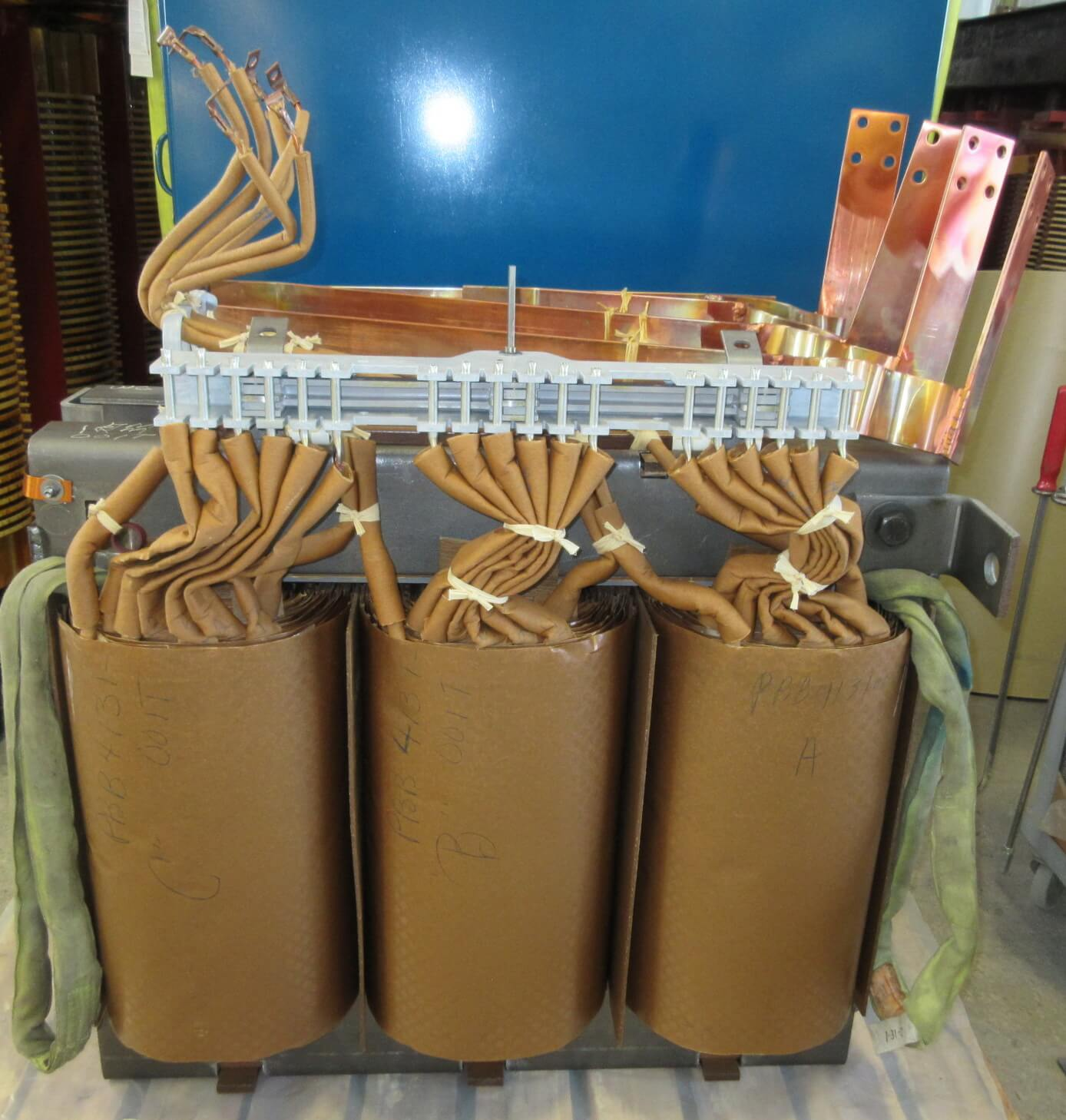 Dry type transformer unit ready to be shipped.