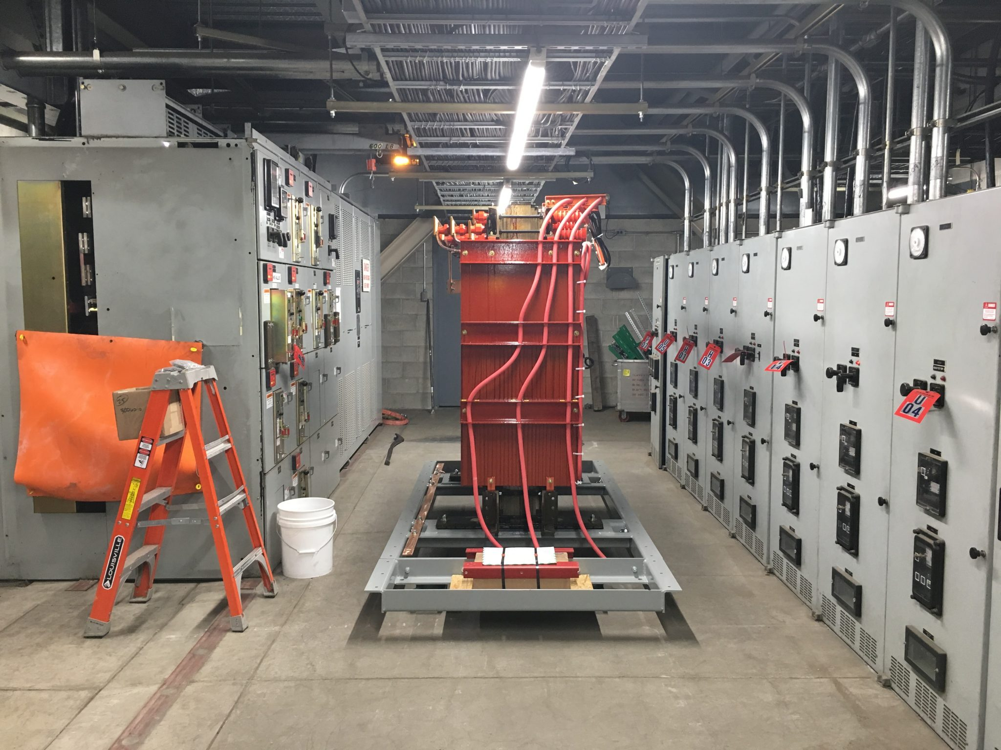 New dry type transformer set inside of a facility.