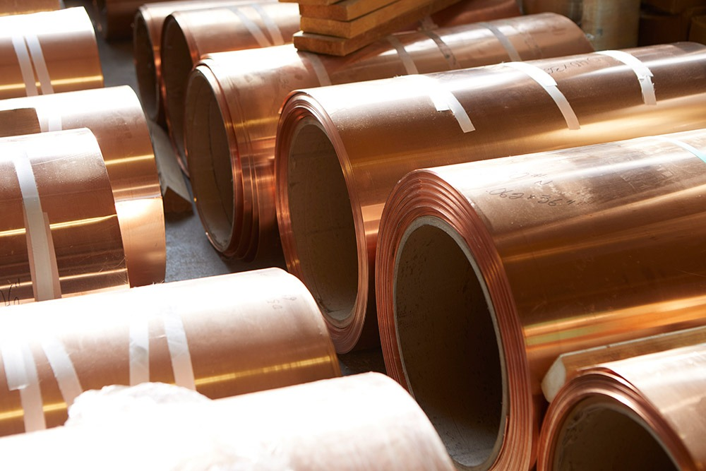 Copper sheets for transformer builds.